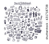 back to school icon set  hand... | Shutterstock .eps vector #631718738