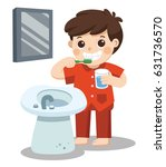 a little boy happy to brush... | Shutterstock .eps vector #631736570