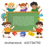 back to school. happy children... | Shutterstock .eps vector #631736750