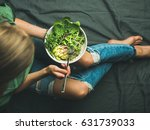green vegan breakfast meal in... | Shutterstock . vector #631739033