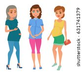 set of different young pregnant ... | Shutterstock .eps vector #631741379