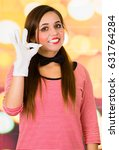 Small photo of Closeup portrait of female clown mime gesturing all right