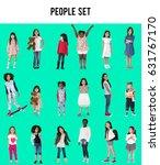 diverse of young girls children ... | Shutterstock . vector #631767170