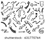 set of hand drawn arrow shape... | Shutterstock .eps vector #631770764