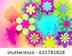 greeting flowers  cut from... | Shutterstock .eps vector #631781828