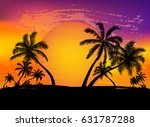 card with realistic palm trees... | Shutterstock .eps vector #631787288