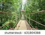 old steel rope bridge in forest ... | Shutterstock . vector #631804388