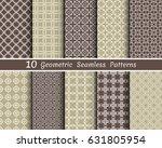 set of 10 seamless geometric... | Shutterstock .eps vector #631805954