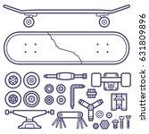 skateboard repair icon set....   Shutterstock .eps vector #631809896