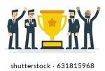 businessman teamwork and trophy....   Shutterstock .eps vector #631815968