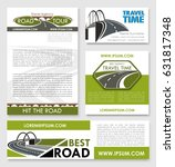 road trip poster and car travel ... | Shutterstock .eps vector #631817348