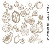 exotic fruits sketch set.... | Shutterstock .eps vector #631817450