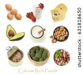 collection of calcium rich... | Shutterstock . vector #631818650