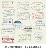 visa passport stamp symbol set. ... | Shutterstock .eps vector #631818686