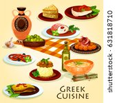 greek cuisine traditional... | Shutterstock .eps vector #631818710