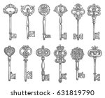 old vintage key and antique... | Shutterstock .eps vector #631819790