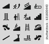 Staircase Icons Set. Set Of 16...