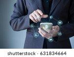 business man using mobile... | Shutterstock . vector #631834664