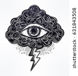 hand drawn all seeing eye with... | Shutterstock .eps vector #631843508