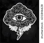 hand drawn all seeing eye with... | Shutterstock .eps vector #631846628