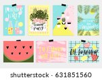 summer greeting cards and... | Shutterstock .eps vector #631851560