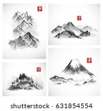 four paintings of mountains... | Shutterstock .eps vector #631854554