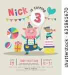 kids birthday party invitation... | Shutterstock .eps vector #631861670