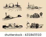 vector farm landscapes... | Shutterstock .eps vector #631865510