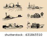 vector farm landscapes... | Shutterstock .eps vector #631865510