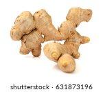 fresh ginger on white background | Shutterstock . vector #631873196