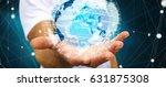 businessman holding global... | Shutterstock . vector #631875308