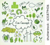 ecology themed doodle  | Shutterstock .eps vector #631879436
