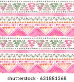 seamless watercolor ethnic... | Shutterstock . vector #631881368
