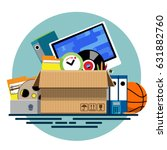 illustration of a cardboard box ... | Shutterstock .eps vector #631882760