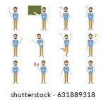 male teacher emoji set on white ... | Shutterstock .eps vector #631889318