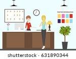 reception in motel. visitors... | Shutterstock .eps vector #631890344