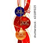 three color christmas ball on... | Shutterstock .eps vector #63189325
