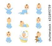 baby emoji set. funny cute... | Shutterstock .eps vector #631895759