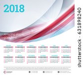 calendar for 2018 year. vector... | Shutterstock .eps vector #631898240