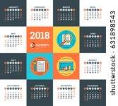 calendar for 2018 year. vector... | Shutterstock .eps vector #631898543