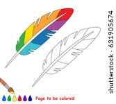 rainbow feather to be colored ... | Shutterstock .eps vector #631905674