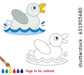 small white duck to be colored  ... | Shutterstock .eps vector #631905680