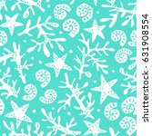 seamless pattern with seashells ... | Shutterstock .eps vector #631908554