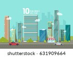 city buildings along street... | Shutterstock .eps vector #631909664
