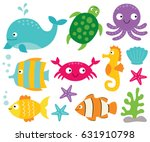 Stock vector sea animals vector set 631910798