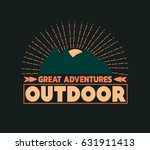 outdoor logo with sunset and... | Shutterstock . vector #631911413