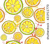 orange vector seamless patterns ... | Shutterstock .eps vector #631911770