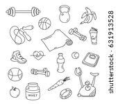 hand drawn fitness doodles....   Shutterstock .eps vector #631913528