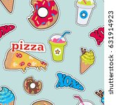 seamless pattern with food.... | Shutterstock .eps vector #631914923