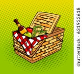 picnic basket with food... | Shutterstock .eps vector #631922618